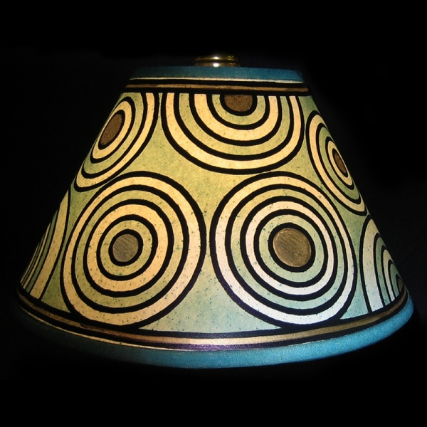 lampshade_-_circles_green_gold_-_lit_up