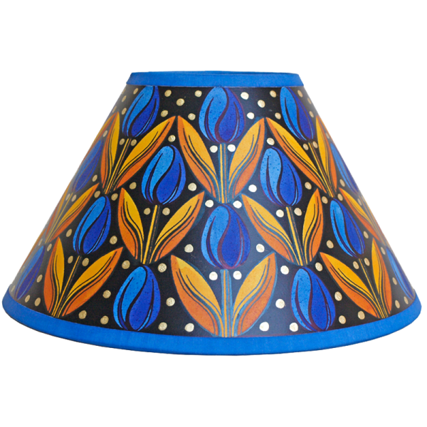 lampshade_-_tulips_blue_gold